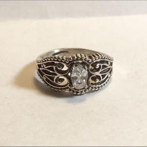 Sterling Silver & White CZ Ring, size 7.25, NEW